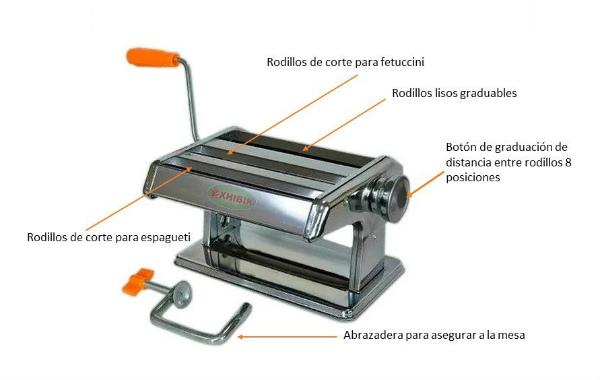 Maquina para hacer pasta con rodillos graduables